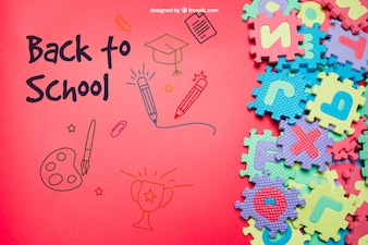 Back to school template with jigsaw and space on left