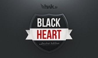 バッジブラックハート血液ボタンダークエレガントなファブリックの心臓HWKリボンセクシーな輝きのテクスチャ