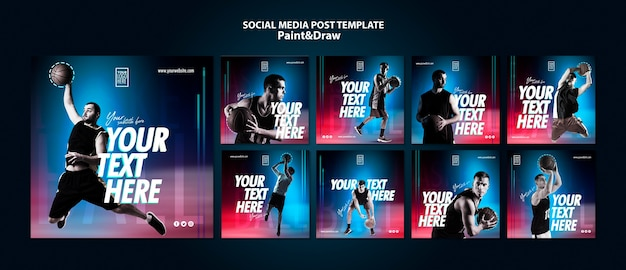 Basketball player instagram posts template