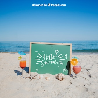 Beach concept with slate and drinks