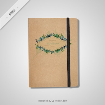 Beautiful notebook mockup in vintage style