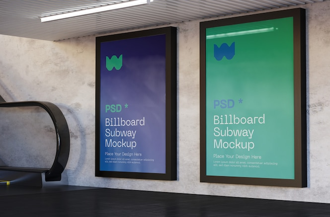 Billboard mockup in subway station