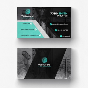 Black and turquoise corporate card template