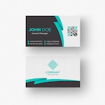 Black and white business card with aquamarine details