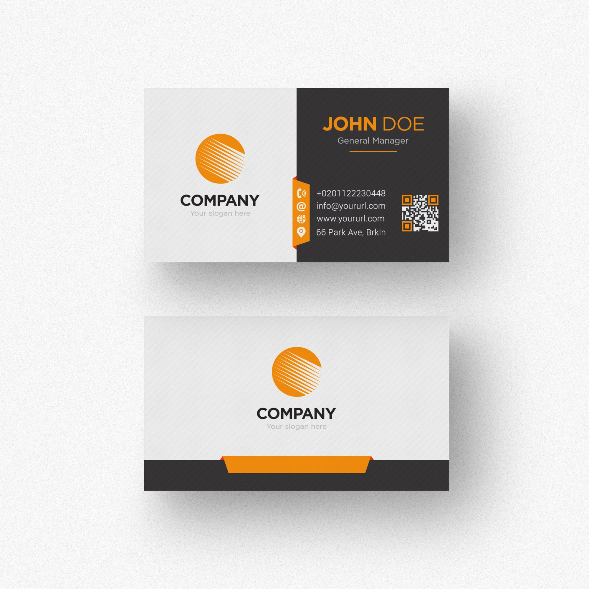 Black and white business card with orange details