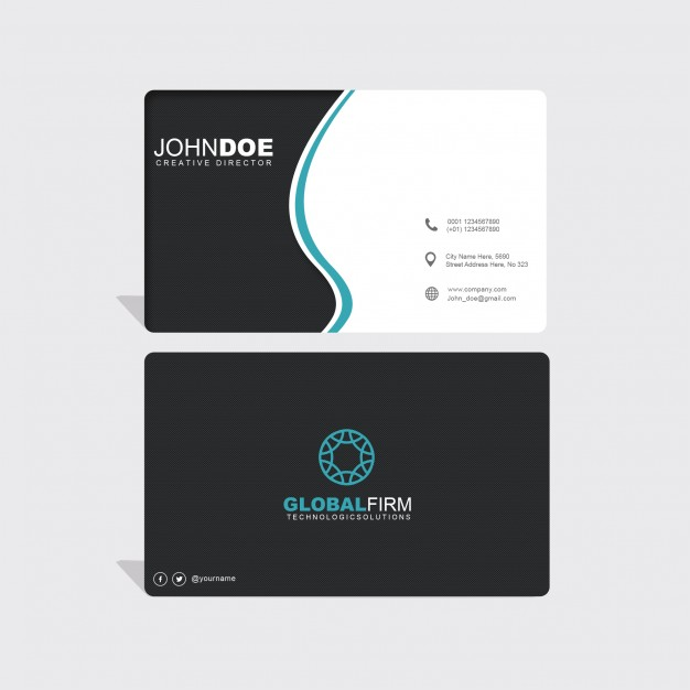 Black and white wavy business card