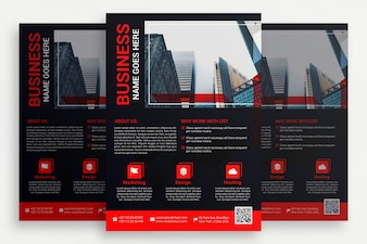 Black business brochure with red details