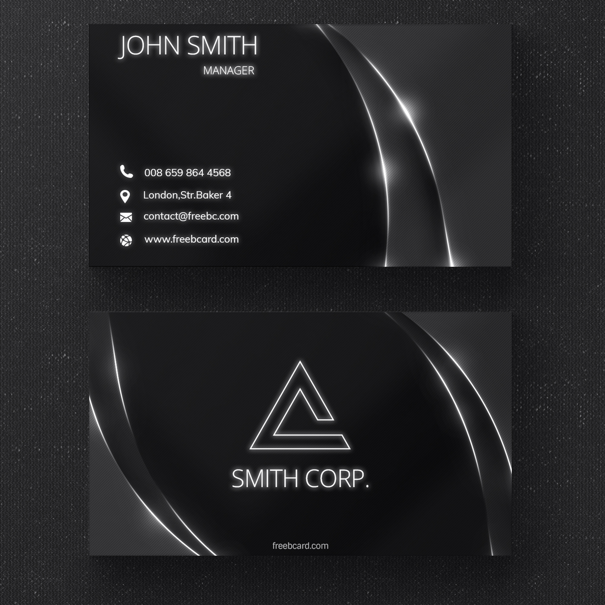 Black business card with glossy lines