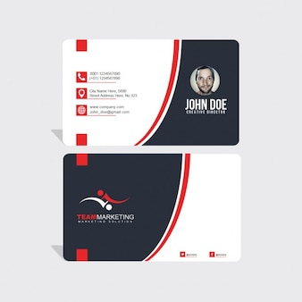 Black business card with red lines