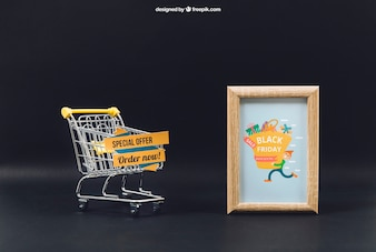 Black friday mockup with cart and frame