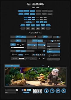 Black GUI elements PSD material
