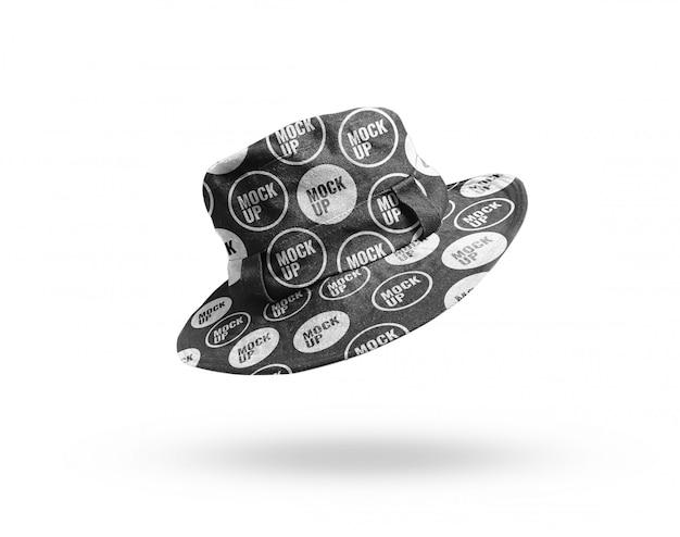 Black head hat bucket mockup