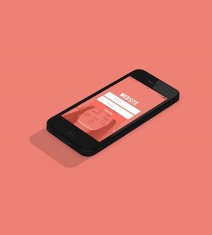 ピンクの背景に黒い携帯電話はモックアップ