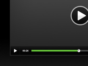 Black video player with green bar