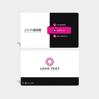 Black, white and pink business card