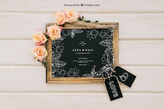 Blackboard mock up with flowers and labels