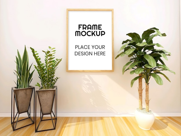 Blank photo frame mockup with plant