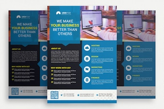 Blue and black business brochure