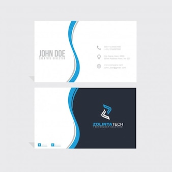 Blue and black business card