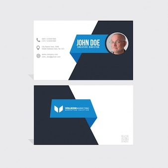 Blue and black corporate card with polygonal shapes