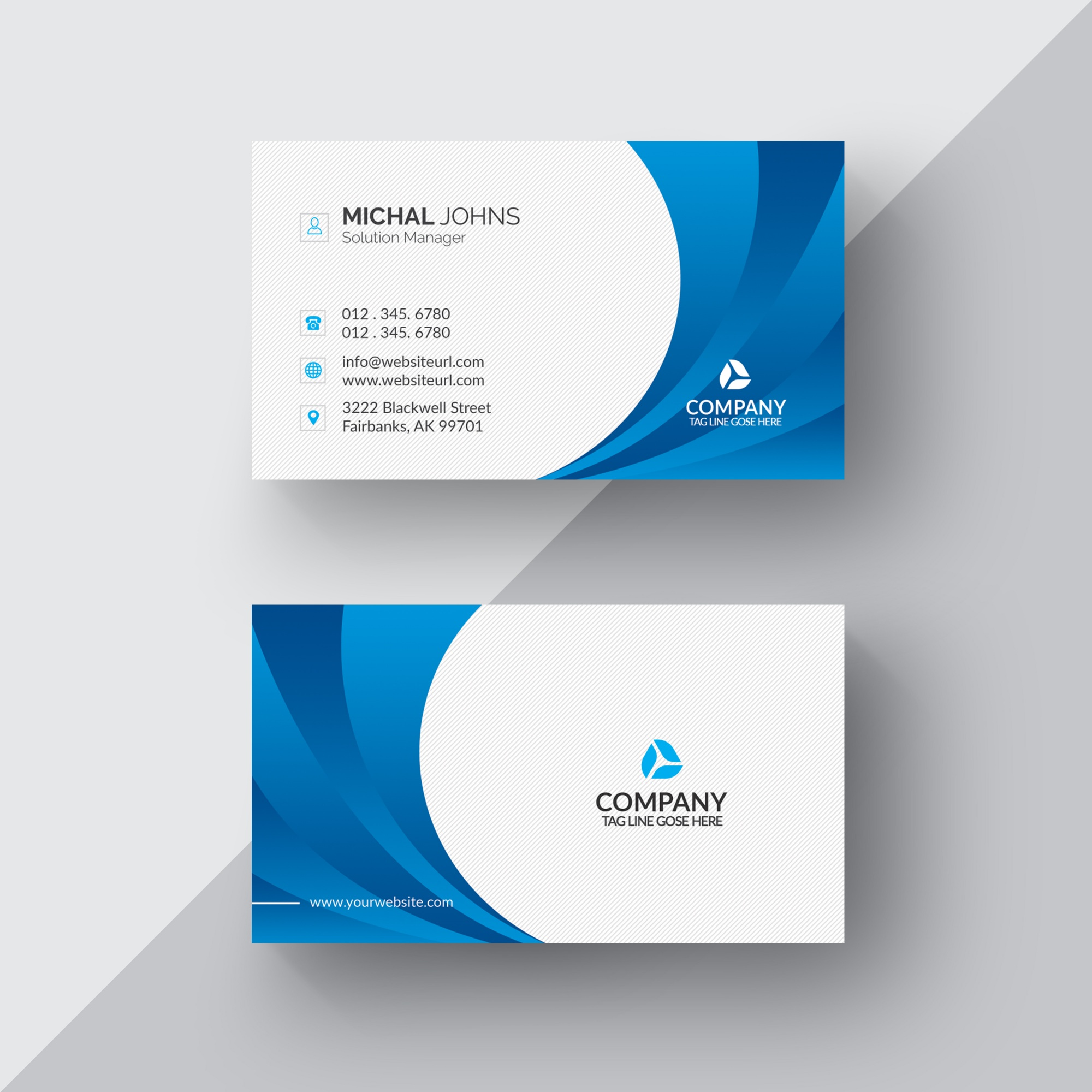 Blue and white business card