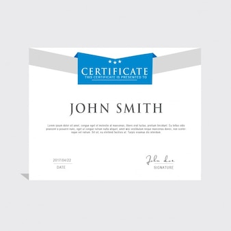 Blue and white certificate