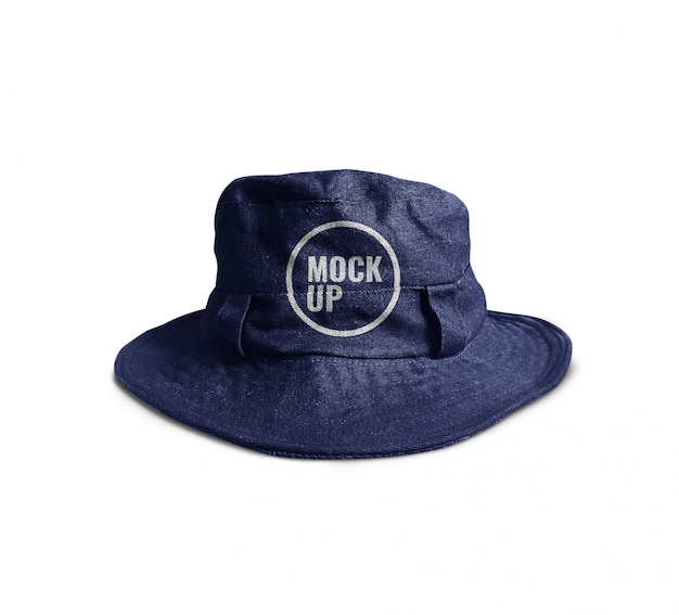 Blue bucket hat mockup realistic