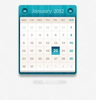 Blue calendar PSD material