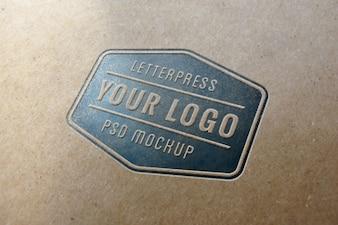 Blue letterpress logo mockup