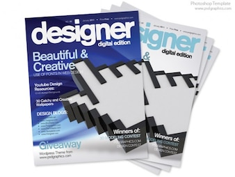 Blue magazine cover design, PSD print template