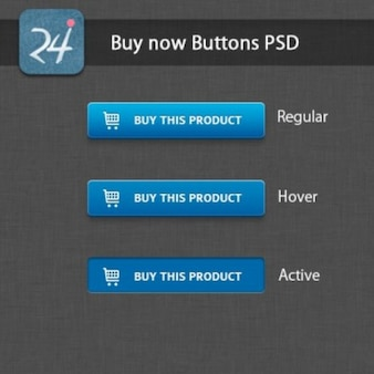 Blue shopping buttons PSD