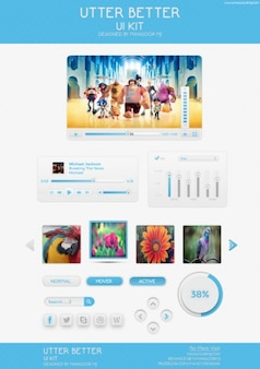 Blue web elements PSD template
