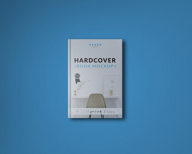 Book cover on blue background mock up