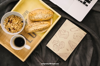 Book cover composition with breakfast on board