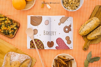 Book mockup with healthy breakfast