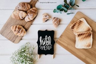 Breakfast mockup with croissants and toast