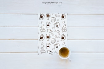 Breakfast mockup with paper