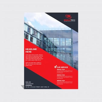 Brochure template with black and red geometric shapes