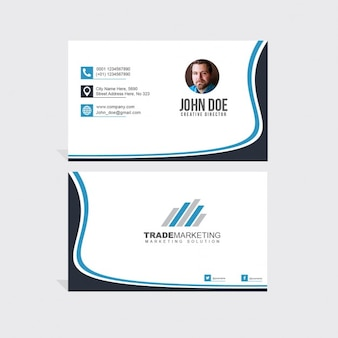 Business card decorated with wavy shapes