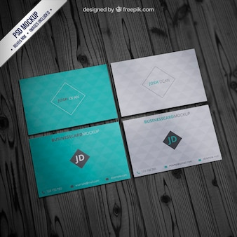 Business card mockup with geometric pattern