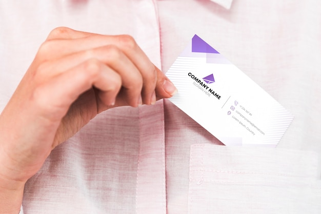 Business card in pocket