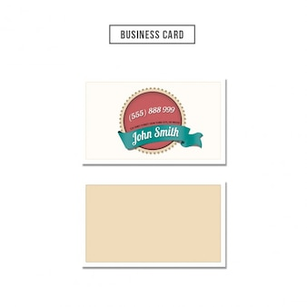 Business card with a badge illustration