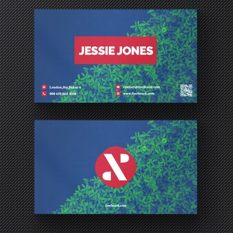 Business card with a plant background