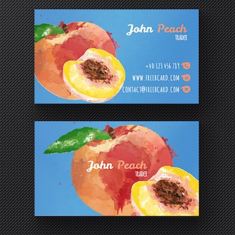 Business card with a watercolor peach