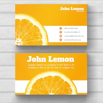 Business card with an orange