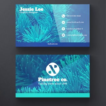 Business card with blue plants