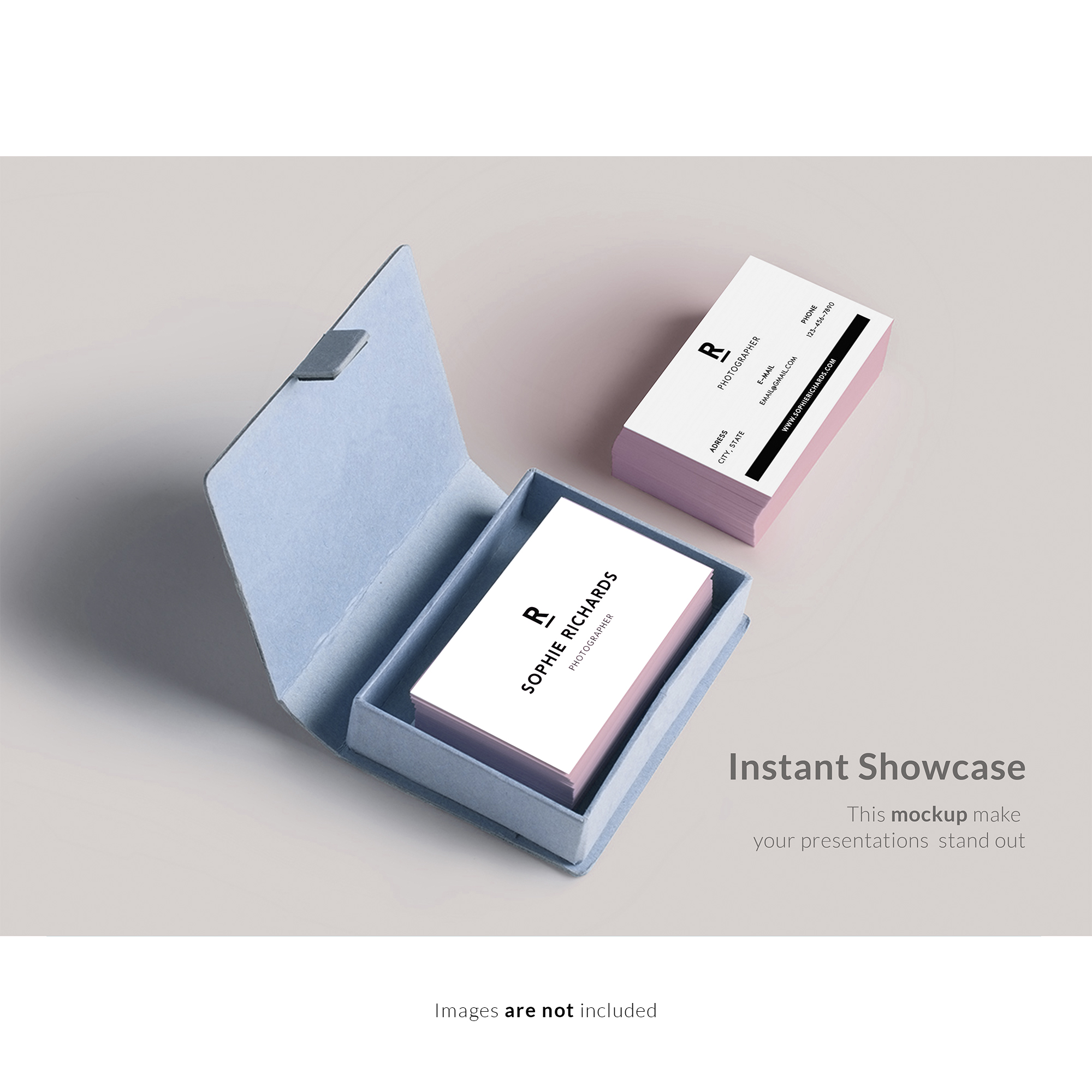 Business card with box mock up