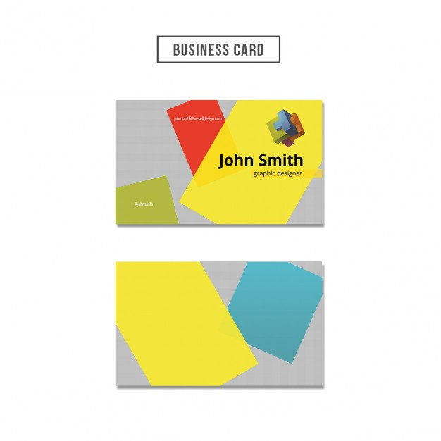 Business card with colored shapes