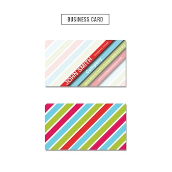 Business card with colored stripes