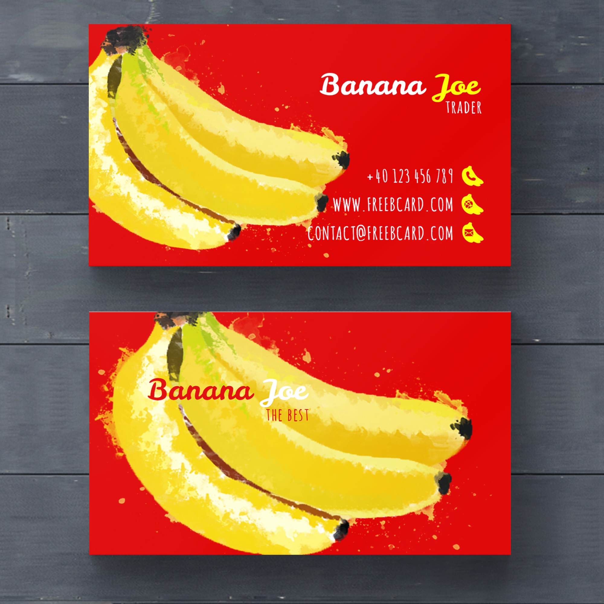 Business card with watercolor bananas
